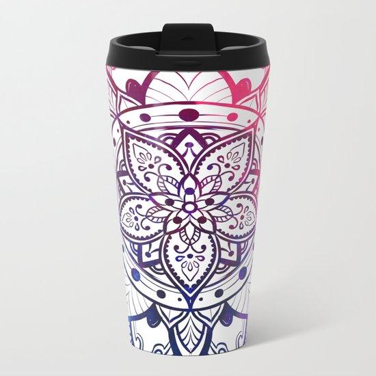 Inner Peace Red Purple Blue Mandala Metal Travel Mug