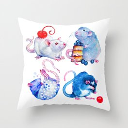 Sweet Rats Throw Pillow