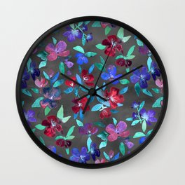 Blossoms in Cherry, Plum and Purple Wall Clock