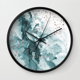 Watercolor meets Glitter  - Turquoise Rose Gold - No 1 Wall Clock