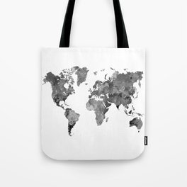 World map in watercolor gray Tote Bag