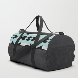 Sea Foam Silver Diamond on Black Background Duffle Bag
