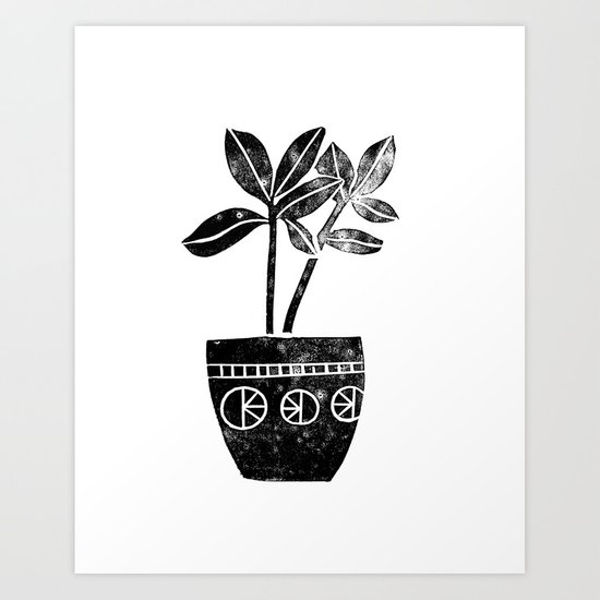 Rubber Plant linocut lino printmaking illustration black and white houseplant art decor dorm college Art Print