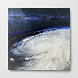 Satellite View of Hurricane and Milky Way Digital Photography by Jéanpaul Ferro Metal Print