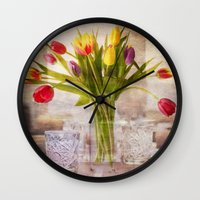 tulips Wall Clocks featuring Tulips by Fine Art by Rina