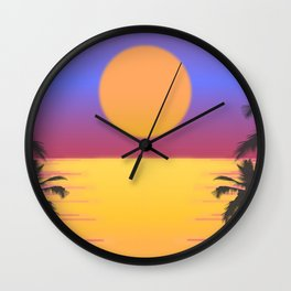 Miami Sunset Retro Tropical Vacation Wall Clock