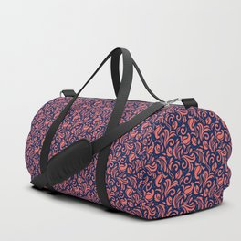 Living Coral on Prussian Blue  Floral Pattern Duffle Bag