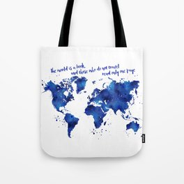 The world is a book, world map in shades of blue watercolor Tote Bag
