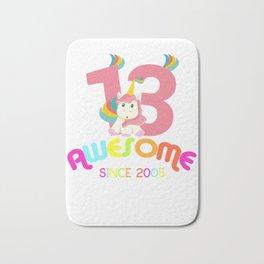 Awesome Since 2005 Unicorn 13th Birthday Anniversaries Bath Mat