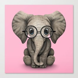 Cute Baby Elephant Calf with Reading Glasses on Pink Canvas Print