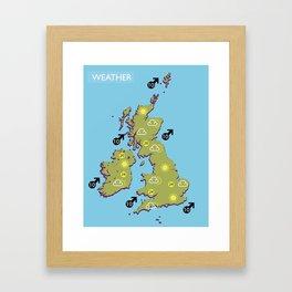 British vintage style television weather map Framed Art Print