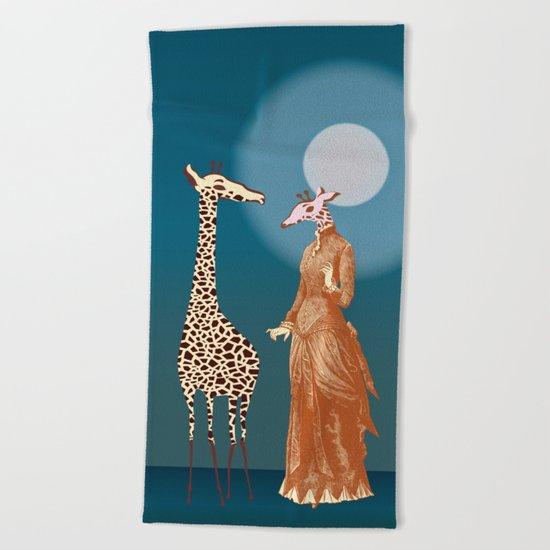 Giraffes - Late night rendezvous Beach Towel