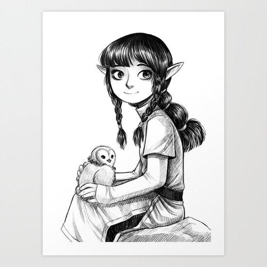 Elf and Owl Art Print