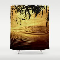 jazzberry Shower Curtains featuring Honey Ripples by Donuts