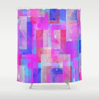 techno Shower Curtains featuring techno base by Carol Sabbagh