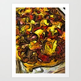 The Yellow and Red Pizza on the Tray Art Print
