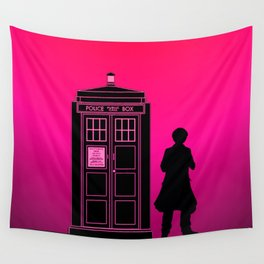 Tardis With The Sixth Doctor Wall Tapestry