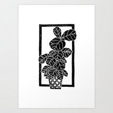 Fiddle Leaf Fig Block Print Art Print