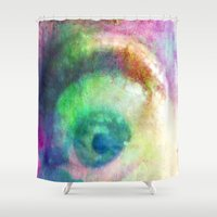 watchmen Shower Curtains featuring I SPY FROM MY LITTLE EYE - 035 by Lazy Bones Studios