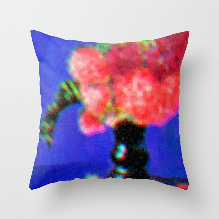 Peonies in Green Vase Throw Pillow