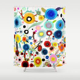 Rupydetequila whimsical floral art 2018 Shower Curtain