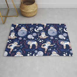 Best Space To Be // navy blue background indigo moons and cute astronauts sloths Rug