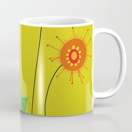 Silly Space-Age Flowers Yellow Background Coffee Mug
