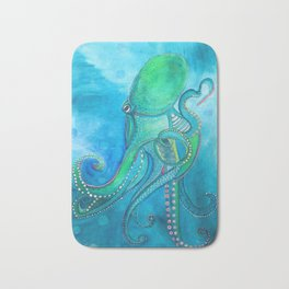 Blue Green Octopus Bath Mat