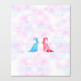 Mirorring Watercolor Victorian Woman style Canvas Print