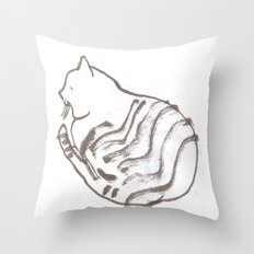 Brush Pen Drawing Of A Domestic Cat Throw Pillow