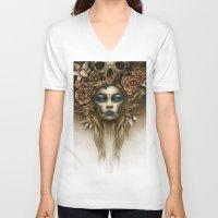 dia de los muertos V-neck T-shirts featuring Dia de los Muertos by Marc Potts