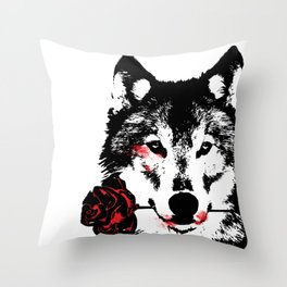 Wolf blood stained, holding a red rose. Throw Pillow
