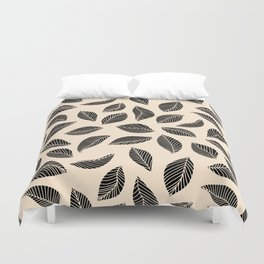 Falling Leaves in black and ivory Duvet Cover