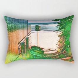Hippie Beach View (Hippy / Hipster Waves of the Ocean) Rectangular Pillow