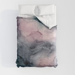 Blush Gray Blue Flowing Abstract Glow Up 1 Comforters