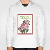 peony Hoodies featuring Peony by Ken Coleman