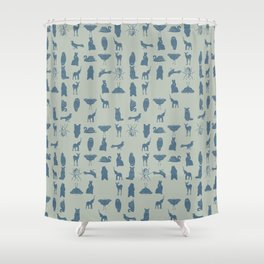 grid collective in blue Shower Curtain