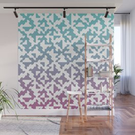 Drunken Path Pattern - Teal and Pink Wall Mural