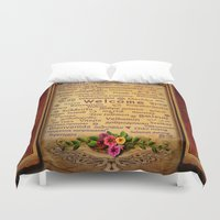 welcome Duvet Covers featuring Welcome by Bedros Awak
