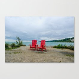 Red Chairs at Bluffers Park and Beach Canvas Print
