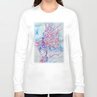 cherry blossom Long Sleeve T-shirts featuring Cherry blossom by Maria Lozano - Art