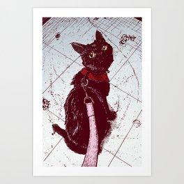 Cat on a Leash Art Print