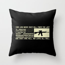 M4 Assault Rifle & Tactical Flag Throw Pillow