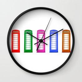 Rainbow Telephone Boxes Wall Clock