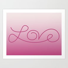Love calligraphy print - gradient pink background with deep pink print Art Print