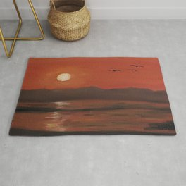 Sunset, romantic landscape, oil painting by Luna Smith, Luart Gallery Rug