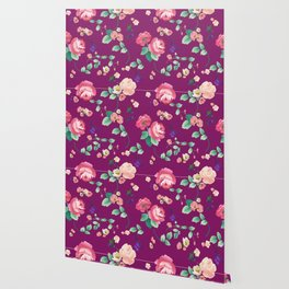 Roses and Violets on Purple Background Wallpaper