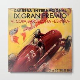 1948 Vintage Barcelona Car Racing Motor Sport Penya Rhin Grand Prix Gran Premio Advertisement Poster Metal Print
