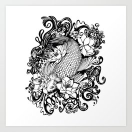 Black and White Carpa koi Art Print