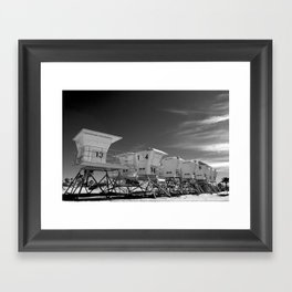 BEACH - California Beach Towers - Monochrome Framed Art Print